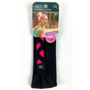 Scunci Black & Pink Braided Wide Fabric Headband